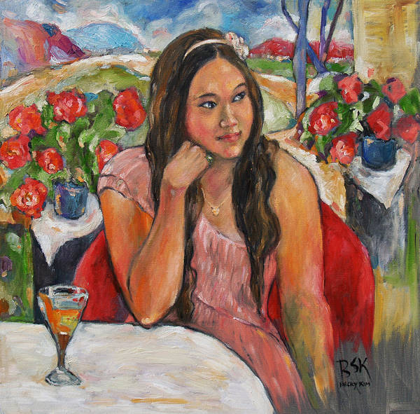 Oil Painting Art Print featuring the painting Jinny In Pink Dress by Becky Kim