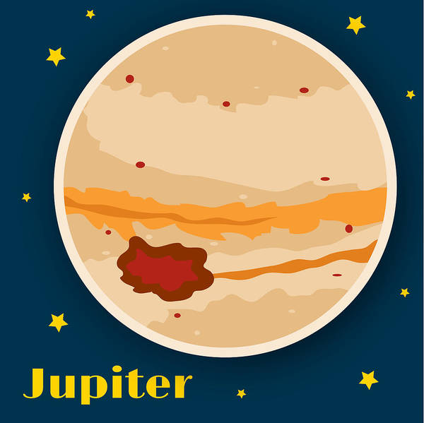 Jupiter Print featuring the drawing Jupiter by Christy Beckwith
