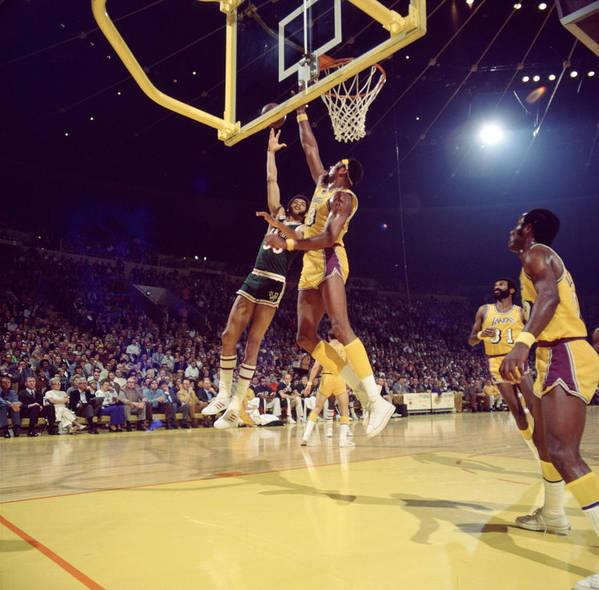 Marvin Newman Print featuring the photograph Kareem Abdul Jabbar Hook by Retro Images Archive