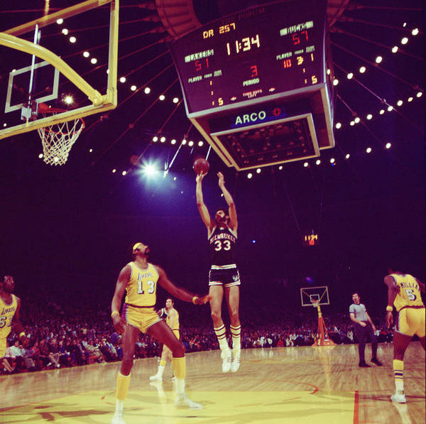 Marvin Newman Art Print featuring the photograph Kareem Jump Shot by Retro Images Archive