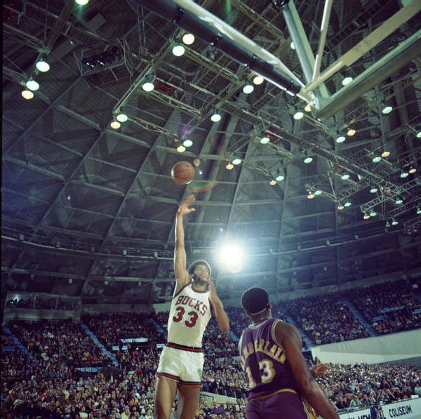 Marvin Newman Art Print featuring the photograph Kareem Abdul Jabbar Sky Hook by Retro Images Archive