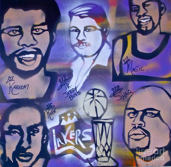 Kobe Bryant Print featuring the painting Lakers Love Jerry Buss 2 by Tony B Conscious