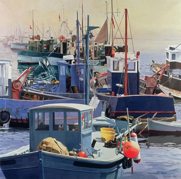 Harbor; Fishing Boat; Mooring; Fender; Deck; Photo-realist; Pulley; Boats; Buoy; Buoys; Sea; Rust; Anchor; Tyre; Bucket; Day Off; Rest; Moored; Life Ring Art Print featuring the painting Liaisons by Jeremy Annett