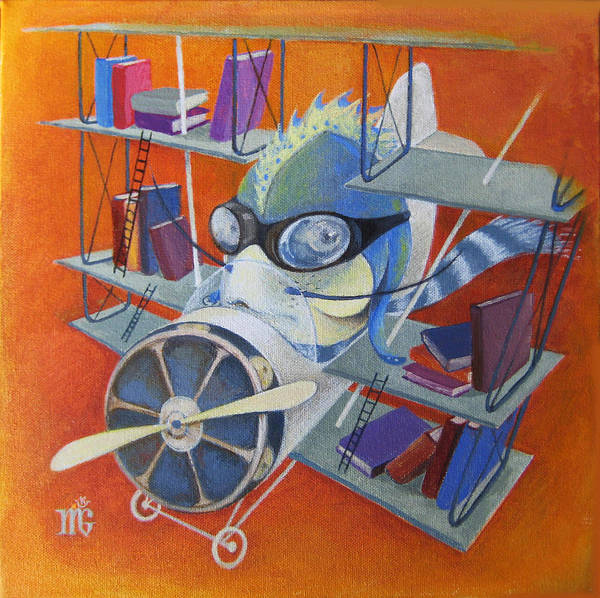 Fish Print featuring the painting Librarian Pilot by Marina Gnetetsky