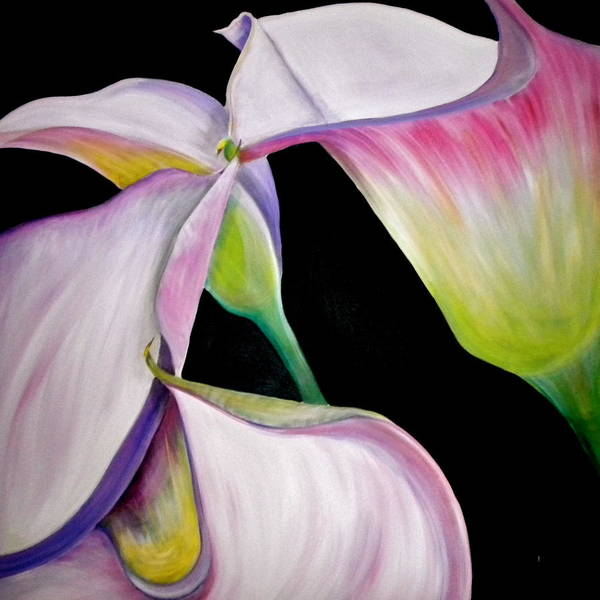Lilies Art Print featuring the painting Lilies by Debi Starr