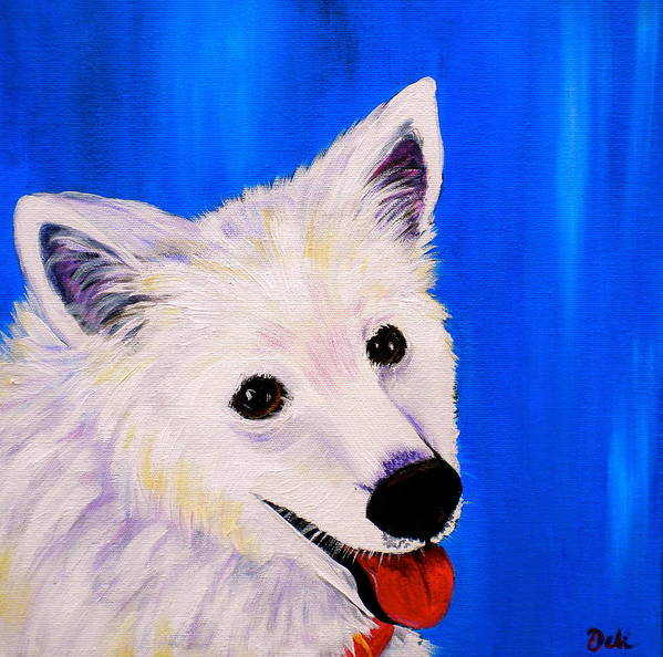 Dog Paintings Print featuring the painting Mac by Debi Starr