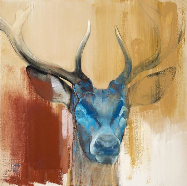Deer; Stag; Red Deer; Animal; Animals; Mask; Antler; Antlers; Head; Blue; Abstract; Red; Yellow; Wild; Animal Head; Wildlife; Mark; Mark Adlington; Adlington; Adlington; Young Stag; Young Deer; Art Print featuring the painting Mask by Mark Adlington
