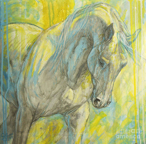 Horse Art Print featuring the painting Morning Light by Silvana Gabudean Dobre