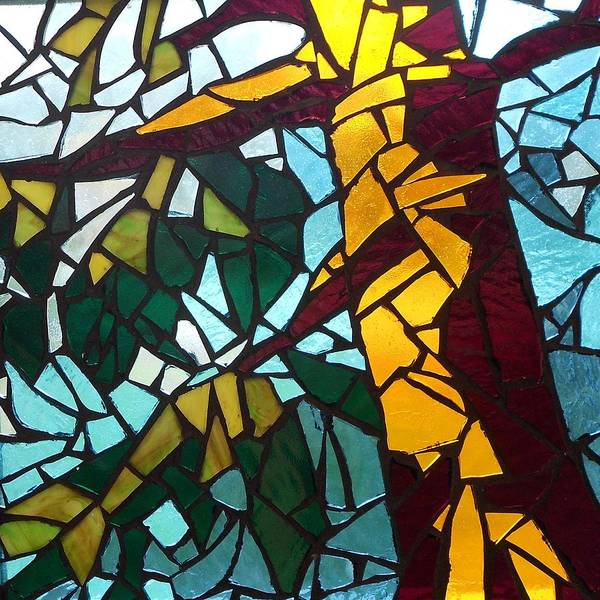 Tree Art Print featuring the glass art Mosaic Stained Glass - First Tree by Catherine Van Der Woerd