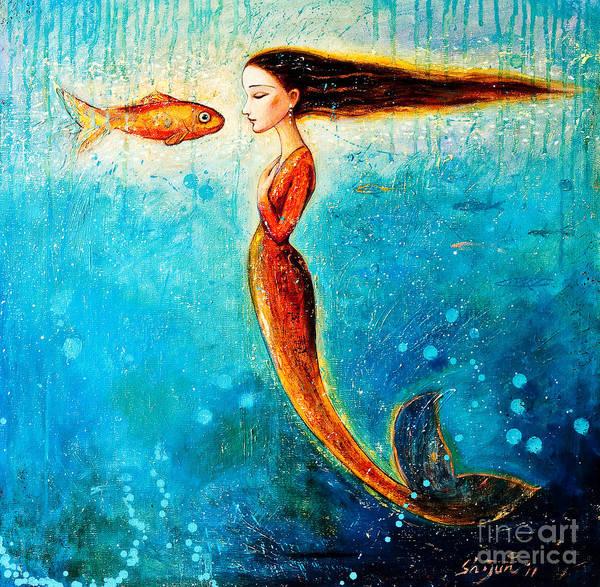 Mermaid Art Art Print featuring the painting Mystic Mermaid II by Shijun Munns