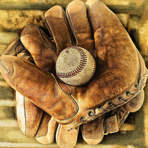 Baseball Art Print featuring the photograph Old Gloves by Ron Regalado