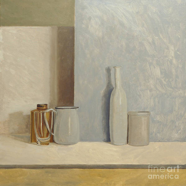 Still Life Art Print featuring the painting Pale Grey And Blue by William Packer