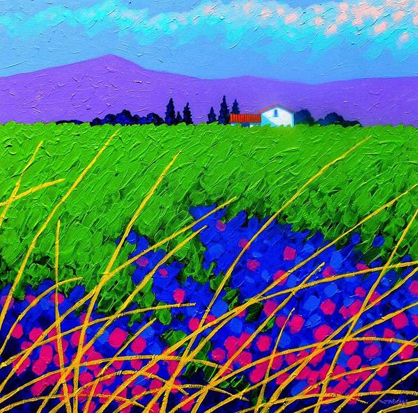 Cottage Art Print featuring the painting Purple Hills by John Nolan