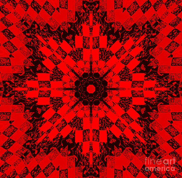 Red Patchwork Art Art Print featuring the photograph Red Patchwork Art by Barbara Griffin