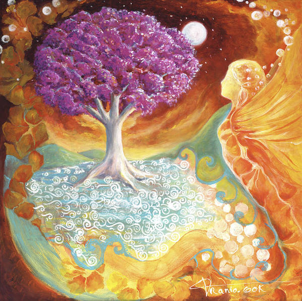 Earth Print featuring the painting Ruby Tree Spirit by Valerie Graniou-Cook