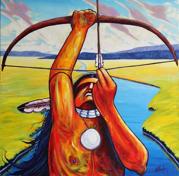 Native American Art Print featuring the painting Shamans Prayer by Joe Triano