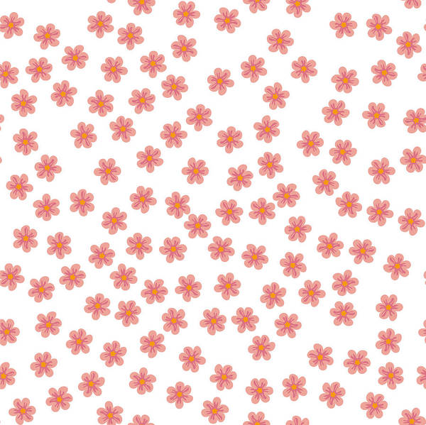 Art Print Featuring The Drawing Small Colored Flowers On A White Background For Prints