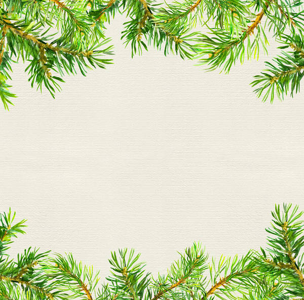 Christmas Card Border.Spruce Tree Branches Border Christmas Card Watercolor Art Print