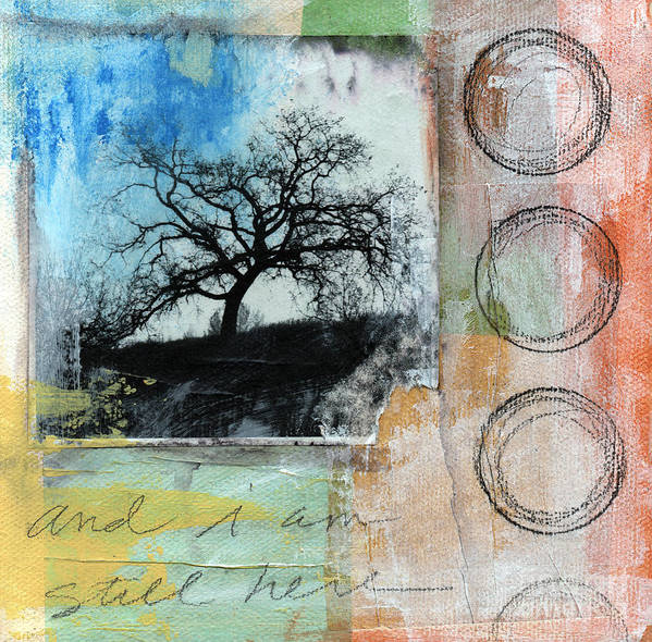 Contemporary Collage Print featuring the mixed media Still Here by Linda Woods