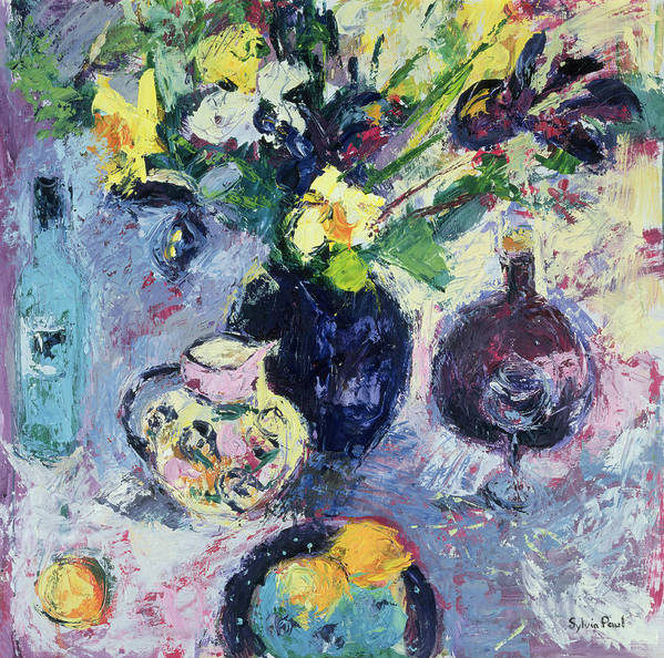 Vase Of Flowers Art Print featuring the painting Still Life With Turquoise Bottle by Sylvia Paul