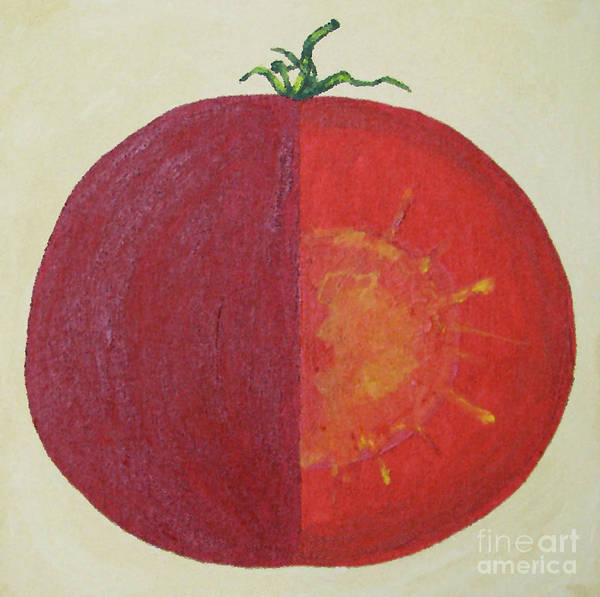 Kitchen Art Art Print featuring the painting Tomato In Two Reds Acrylic On Canvas Board By Dana Carroll by Dana Carroll