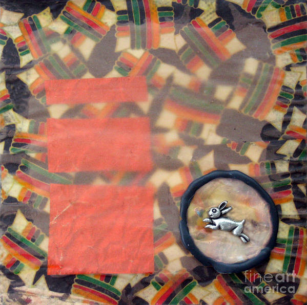 Mixed Media. Collage Art Print featuring the mixed media Vernal Equinox Hare by Ellen Miffitt