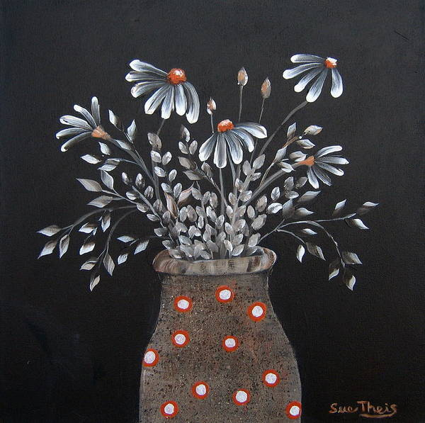 Flowers Art Print featuring the painting Wake Up And See The Flowers by Suzanne Theis