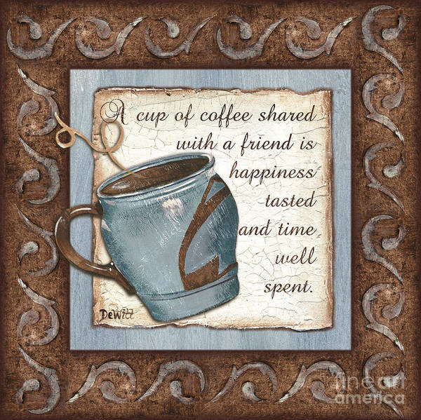 Coffee Art Print featuring the painting Whimsical Coffee 2 by Debbie DeWitt