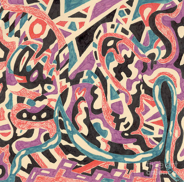 Wild Tribal Abstract Drawing Original Red Cream Black Teal Blue Purple Pattern Movement Rlmdesignes Art Print featuring the drawing Wild by Rebekah McLeod