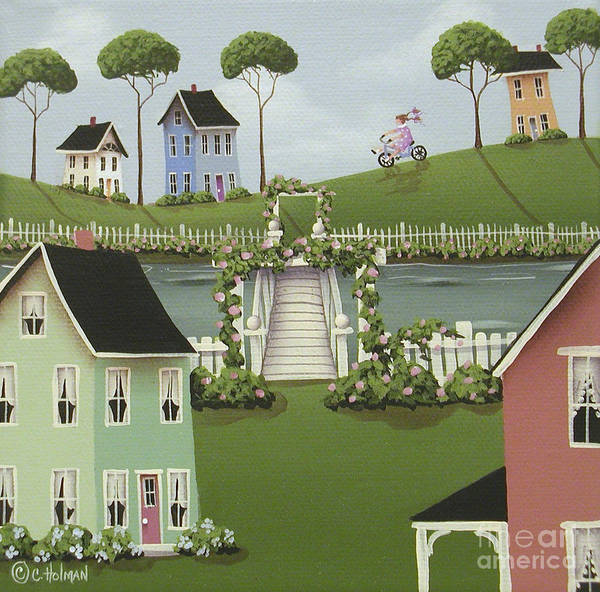 Folk Art Art Print featuring the painting Wild Rose Crossing by Catherine Holman