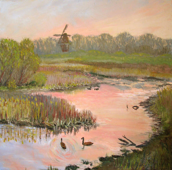 Landscape Art Print featuring the painting Windmill On The Waterfront by Art Nomad Sandra Hansen