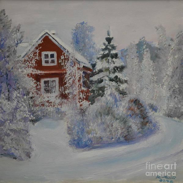 Raija Merila Art Print featuring the painting Winter In Finland by Raija Merila