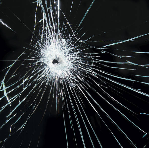 Bullet Art Print featuring the photograph Broken Glass by Tek Image