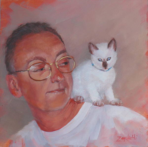 Portrait Art Print featuring the painting George And Doc by Laura Lee Zanghetti