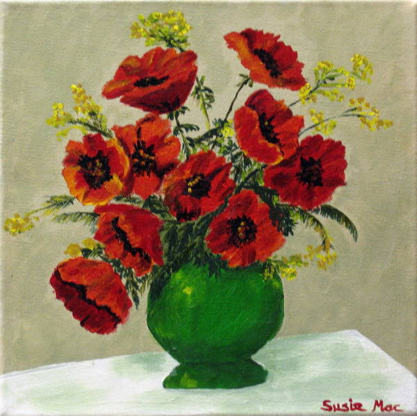 Flowers Art Print featuring the painting Green Vase Red Poppies by Susan McLean Gray