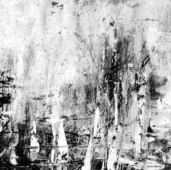 Old Memories Black And White Abstract Art By Laura Gomez Square Size Art Print