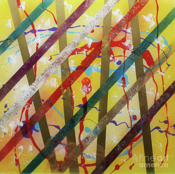 Party Print featuring the painting Party - Stripes 2 by Mordecai Colodner