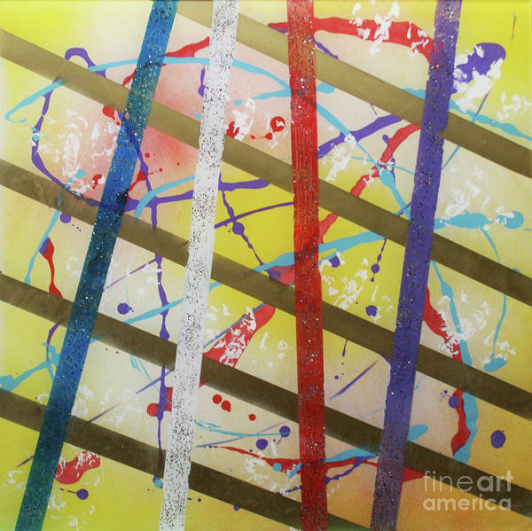 Party Art Print featuring the painting Party-stripes-1 by Mordecai Colodner