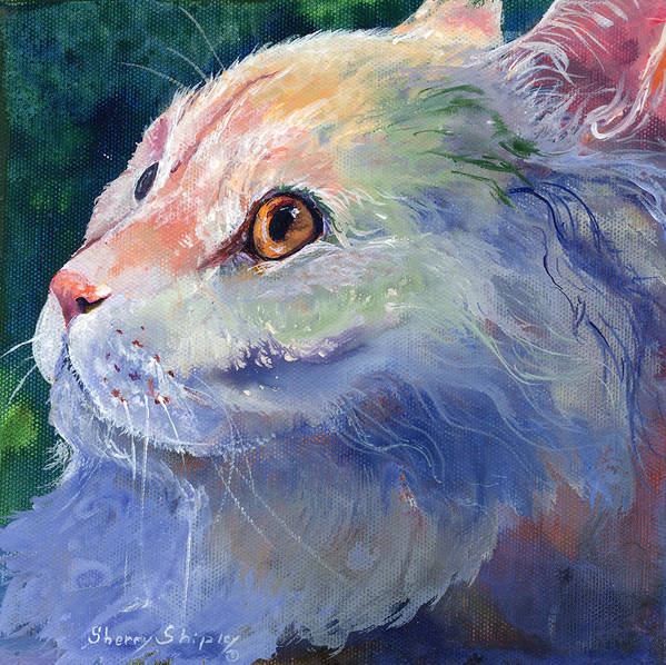 Cat Art Print featuring the painting Pastel Persian by Sherry Shipley