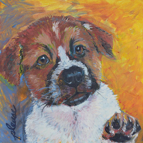 Puppy Art Print featuring the painting Please by Susan Davies