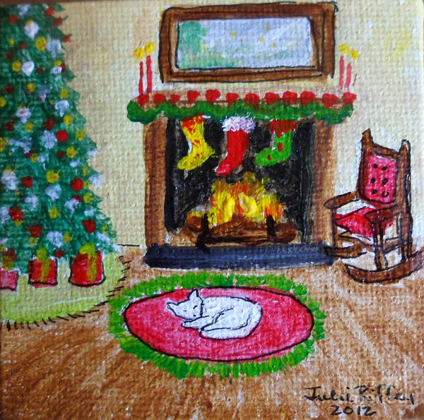 Fireside Art Print featuring the painting The Stockings Were Hung by Julie Brugh Riffey