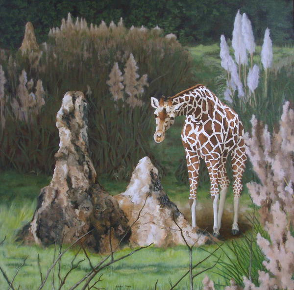 Giraffe Art Print featuring the painting The Termite Mounds by Sandra Chase