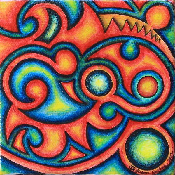 Tribal Art Print featuring the painting Tribal Design 1 by Jason Galles