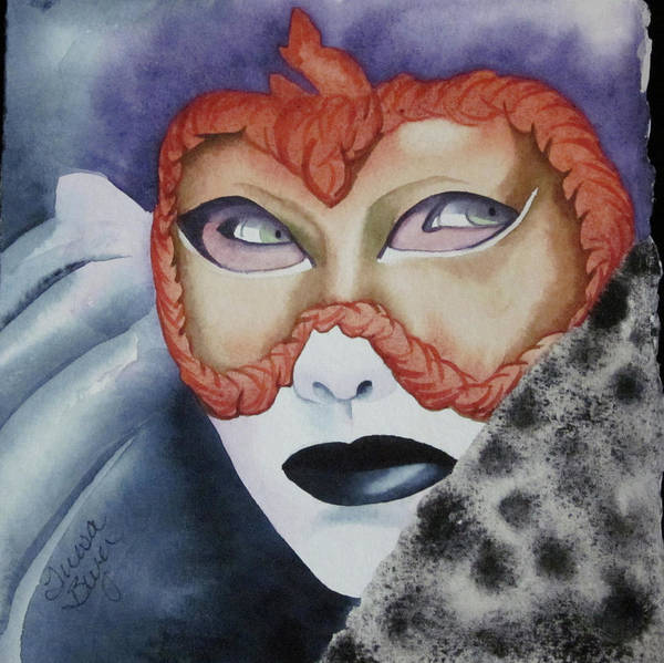 Mask Art Print featuring the painting Well Worn Mask by Teresa Beyer