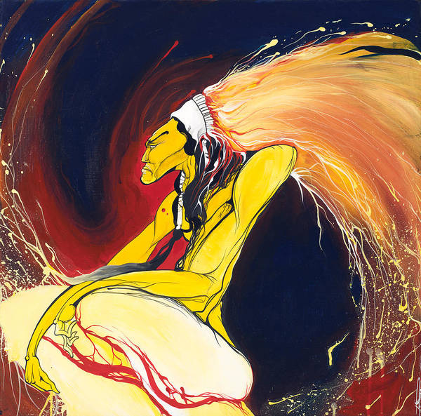 Chief Art Print featuring the painting Crazy Horse by Dallas Poundmaker