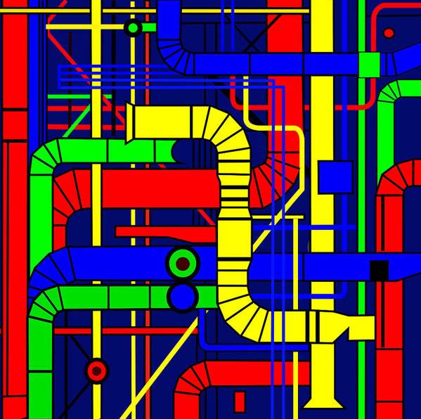 Centre Georges Pompidou Art Print featuring the digital art Inspired By The Centre Georges Pompidou by Asbjorn Lonvig
