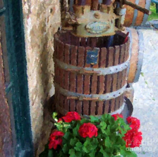 Geraniums Art Print featuring the photograph Wine And Geraniums by Debbi Granruth
