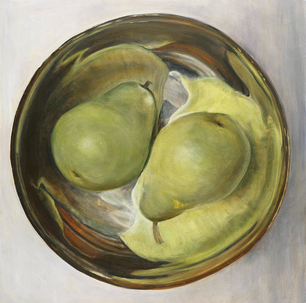 Still Life Art Print featuring the painting Yin Yang Pears by Sherry Burnett