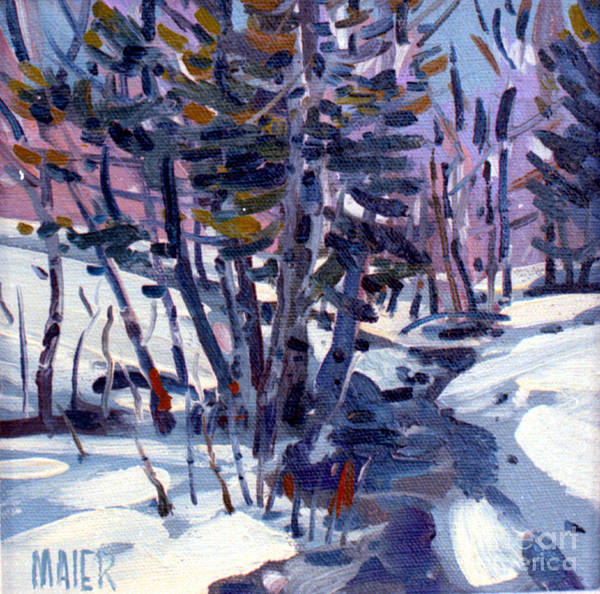 Plein Air Art Print featuring the painting Aspen In The Snow by Donald Maier