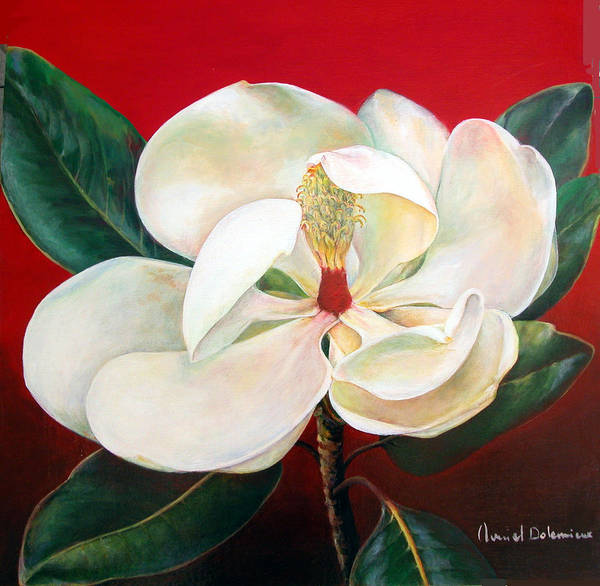 Floral Painting Art Print featuring the painting Magnolia by Muriel Dolemieux